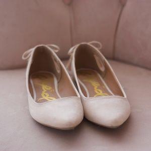 Creamy Blush Suede Ballet Flats